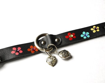Boho Black Leather Bracelet FREE SHIPPING Painted Flower Bohemian Hippie Jewelry