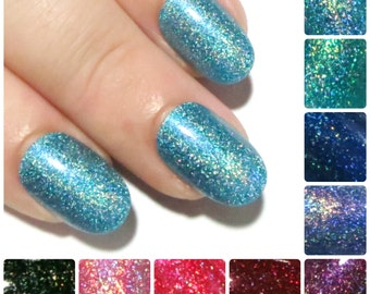 False Nails - Holographic Nails - Short Fake Nails - Glue On Nails - Stiletto Press On Nails - Glittery Acrylic Nails - Artificial Nails x24