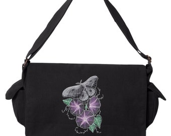 Nocturnus - Moth Embroidered Canvas Cotton Messenger Bag