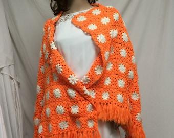 Knit shawl,orange, knit, wrap ,shawl ,flowers ,fringed