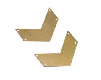 Brass Chevron Pendant, 2 Pc Brass Chevron Charm , 4 hole Pendant, Raw Brass Supplies, Exclusive at Goldie Supplies