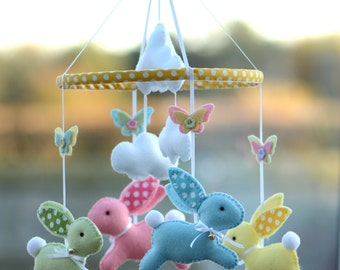 Baby Mobile - Bunny Mobile - Baby Gift - Multicoloured - MADE TO ORDER