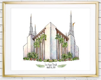 Las Vegas Temple Watercolor Art Print- Personalized Gift, Painting, Art, Wall Decor, Illustration, LDS Art, LDS Temple, Wedding Gift, Date