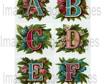 Alphabet Clipart Alphabet Letter Set 26 JPG Floral Letters for Scrapbooking Commercial Use and Personal Use
