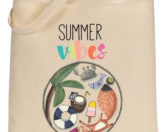 Fox Summer Totebag - Cotton Bag - Summer Vibes - Summer Bag