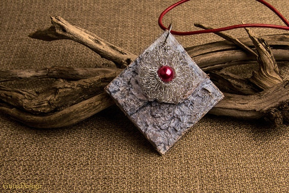 Necklace with White Washed Birch Bark Pendant with Crochet Wire Flower