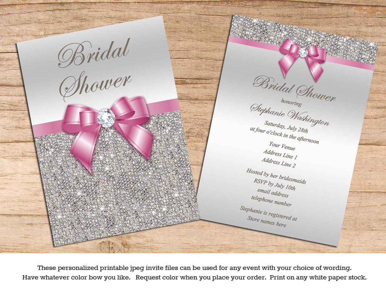 Bling Wedding Invitations: Bridal Shower Wedding Invitations Silver Sequins Bling Your