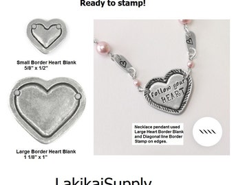 """Heart Blanks, HEART with BORDER Blanks, ImpressArt Pewter Metal Stamping Blanks 1/2"""" or 1"""" Small or Large, Qty 2, 4 or 144 Soft Strike 16 Ga"""