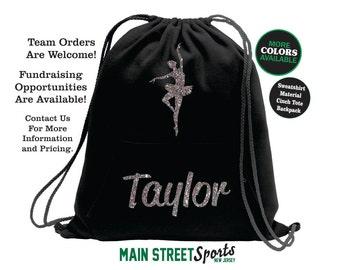 DANCE BAG with Name. Dance Tote. Dance Cinch Bag. Dance Backpack. Dancer Tote. Dancer Bag. Gymnastics Backpack. Gymnastics Tote. Sports Bag.