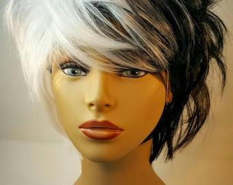 Short Black and White Wig, Cruella Deville, Black and While Two Tone Wig