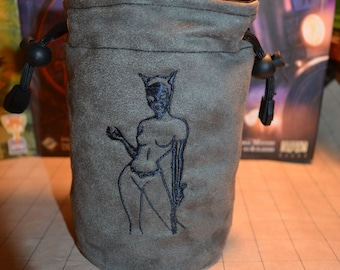 Dice Bag custom Embroidery Suede Gray Cat women double sided