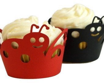 Black & Red Lady Bug Cupcake Wrappers, Set of 12