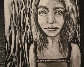 Original White & Black Ink Drawing Portrait of Girl in Forest Cute Illustration Line art Small artwork Female wall art Quirky Hippie Decor