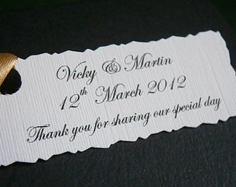 10 Personalised Wedding Favour Tags - Any Text