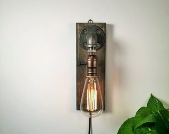 Plug in Wall Sconce L&/Rustic decor/Sconce l&/Industrial Lighting /Ste&unk & Industrial lighting | Etsy azcodes.com