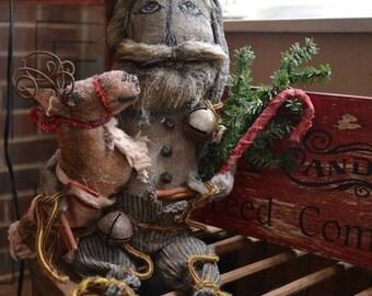 Primitive SANTA & REINDEER Cupboard Doll  PDF Pattern Christmas Great Seller! StoneMtPrimitives