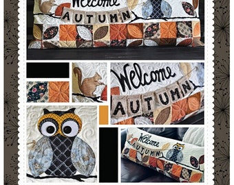 "Bench Pillow Pattern ""Welcome Autumn"" by Kimberbell - Pattern Only (KD183); Quilted Pillow Cover; Pillow Pattern"