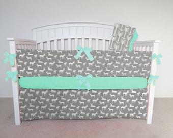 Crib Bumper - Deer crib bumper set, crib bumpers