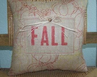 Fall pillow, Pumpkin pillow, burlap pillow, Fall decor, Metallic gold, stenciled pillow, Thanksgiving decor, FREE SHIPPING!