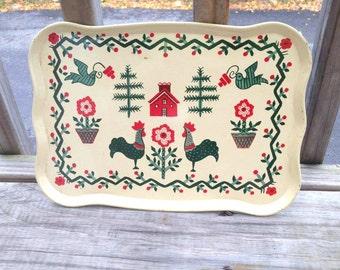 Vintage Rustic Farm Tray, Primitive Christmas Decor, Christmas Tray, Metal Christmas Tray, Vintage Metal Tray, Farmhouse Tray