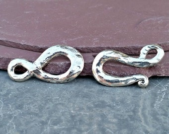 Hammered Clasp Silver Hook and Loop Pewter C88,Hammered Clasp,Silver Hook Clasp,Silver Clasp,Matte Silver Clasp,hook loop clasp,large clasp
