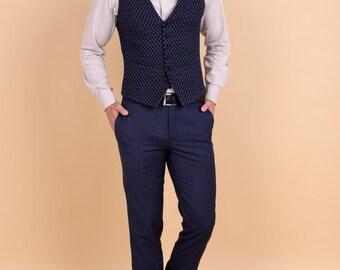 Men's flat front slim pants in blue merino tropical wool