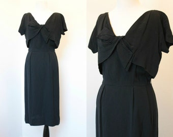 Vintage 1940's Black Rayon Dress// Size Large Short Sleeve Sheath Dress// Classic '40s Short Sleeve Empire Waist Dress