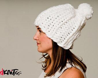 DUBLIN hat with POMPOM!..Vegan knit hat, hand knit, chunky knit, knit toque, knit beanie, knit hat, vegan knit, vegan gift.