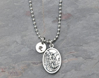 St michael necklace etsy mens saint st michael necklace stainless steel ball chain personalized letter charm protector aloadofball Image collections