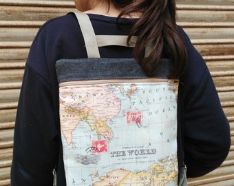Mapamundi Backpack & case, World map backpack and case, handmade, made in spain