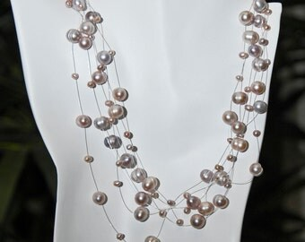 925 Sterling Silver Freshwater Lavender Pearl Floating Illusion Necklace
