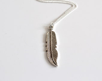 Silver Bohemian Feather Long necklace