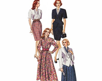 Shawl Collar Dress Pattern Fitted Jacket Pattern 1990s Sewing Pattern McCalls Palmer Pletsch 5810 Size 10 Bust 32.5 UNCUT