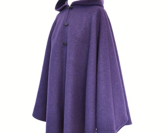 Hooded Cape, Purple Wool Cape, Boiled Wool Cloak, Hooded Cloak, Plus Size Cape Coat, Wool Hooded Coat, Wool Poncho, Medieval Cloak