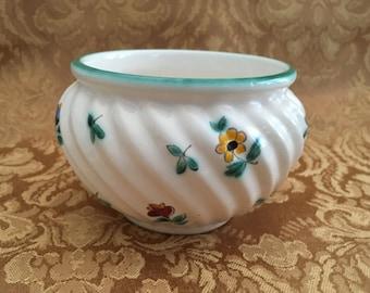 Gmundner Austria Scattered Blooms, Floral Bowl,  Floral Pot, Fruit Dessert Sauce Bowl, Floral Scalloped Bowl, Green Rim