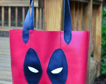 Deadpool Leather Totebag, Ryan Reynolds, Deadpool bag, leather tote, Marvel Comics, deadpool cosplay, geek chic