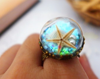 Glow in the Dark Jewelry, Real Starfish Ring, Sea Star Jewelry, Seashell Ring, Mermaid Ring, Glass Globe Statement Ring, Unique Ring for her