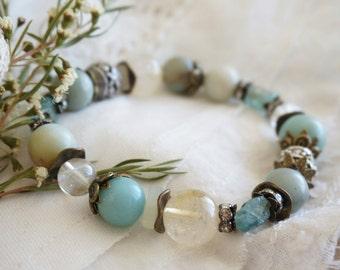 "Bohemian ""Floral Boho"" Druzy Stack Bracelet, Boho Rustic Gypsy Ocean Amazonite Raw Druzy Apatite Bracelet, Wedding Bridesmaid Jewelry Gift"