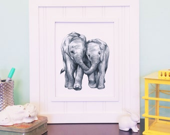 Elephant Art Print - Friendship Art Print, Mother and Daughter, Father and Son, Mother's Day Gift