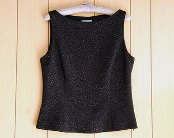 Womens Size 16 | Dressy Black Sleeveless Shell Top | Textured Fabric & Glitter Accents | Lined | David Warren