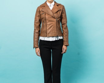 Light brown quilted biker lambskin leather jacket