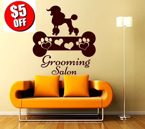 Wall decals dog grooming salon decal vinyl sticker pet for Stickers salon