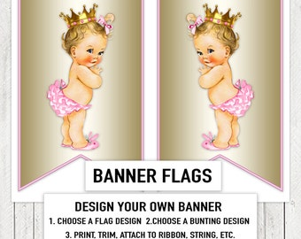Pink Gold Princess Baby Shower Banner Bunting Flags Blonde
