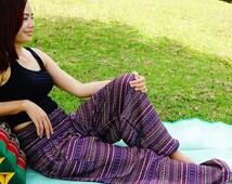Thai Tribal Yoga Harem Pants Stripe Aladdin women pants Beach Summer pants Boho Gypsy Pants Genie beach fisherman pants
