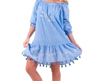 "Beach Dress with tassels in Cotton – ""Beach Blue"" Free Size"
