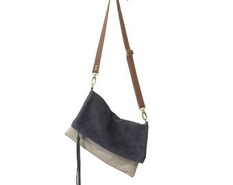 Foldover Suede Crossbody Bag // Grey