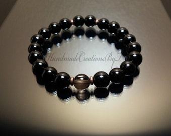 Smokey Quartz & Black Tourmaline Gemstone Bracelet, Wrist Mala, Mens Bracelet, Jewelry Jewellery, Womens Adjustable Fashion