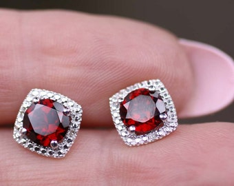 Sterling Silver Mozambique Garnet & Diamond Round Halo Style Stud Earrings January Birthstone 1.68 CTW