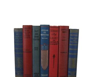 Blue Red Decorative Books, Vintage Wedding Decor , Vintage Book Decor , Home Decor , Photo Prop , Bookshelf Decor , Old Book Decor ,