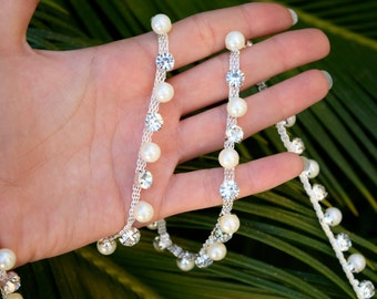 D'arcy's Rhinestone and  Pearl Bridal Trim. Single Line Trim with Silver Rhinestones and Ivory Pearls. Set on Flat Silver Metal Mesh